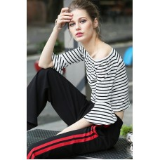 Black And White Striped Boat Neck Long Sleeves Tees